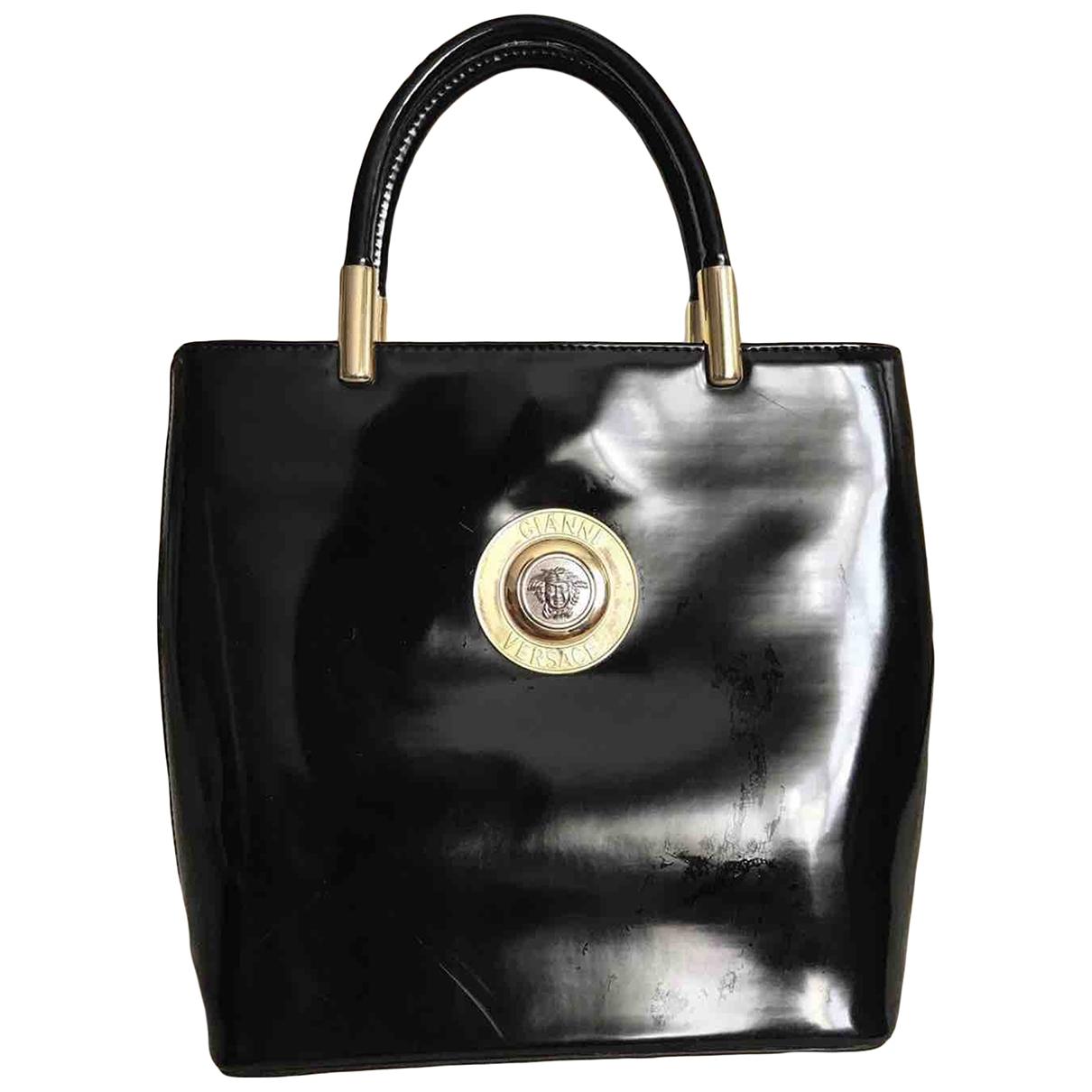 Gianni Versace - Sac a main   pour femme en cuir verni - noir