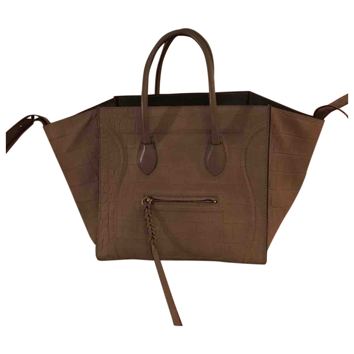 Celine - Sac a main Luggage Phantom pour femme en cuir - gris