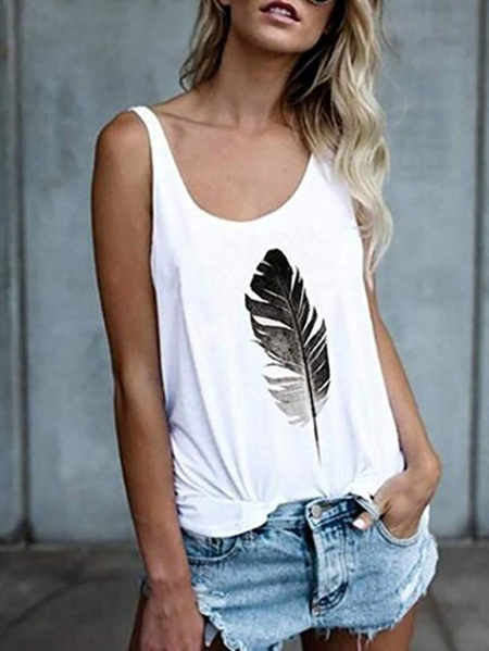 Yoins Feather Print Round Neck Sleeveless Tank Top