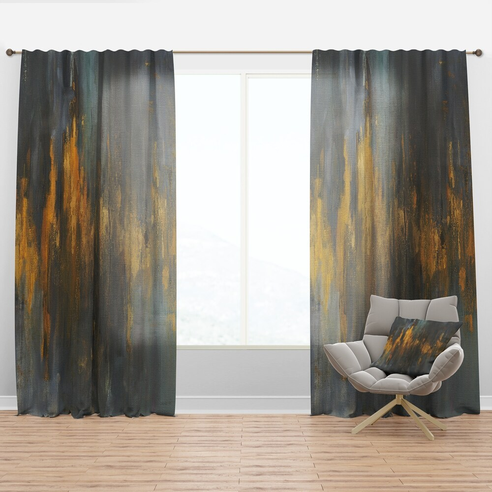 Designart 'Black and Gold Glam Abstract' Modern & Contemporary Curtain Panel (50 in. wide x 63 in. high - 1 Panel)