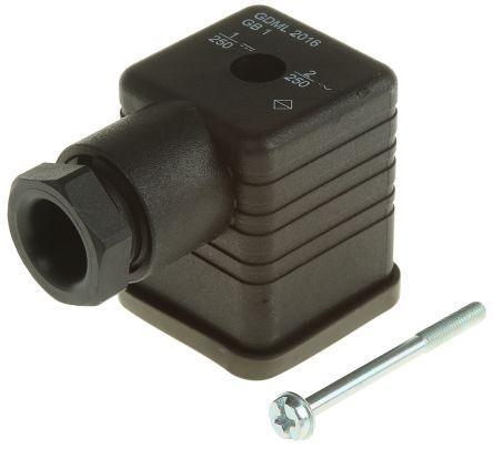 Hirschmann , GDML Series 2P+E DIN 43650 A, Female Solenoid Valve Connector, 250 V Voltage, Black