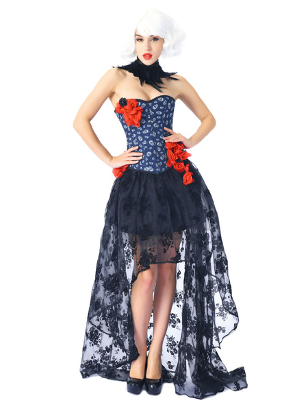 Milanoo Corsets Dress For Women Blue Sexy Flowers Floral Print Strapless High Low Skirt With Choker