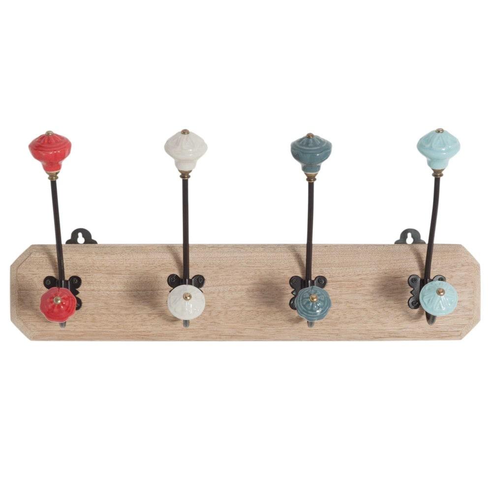 Garderobenleiste aus Mangoholz mit 4 Haken aus Metall und Keramik