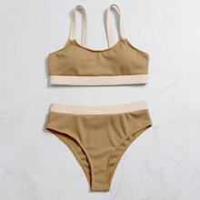 Rib Contrast Trim High Waisted Bikini Swimsuit