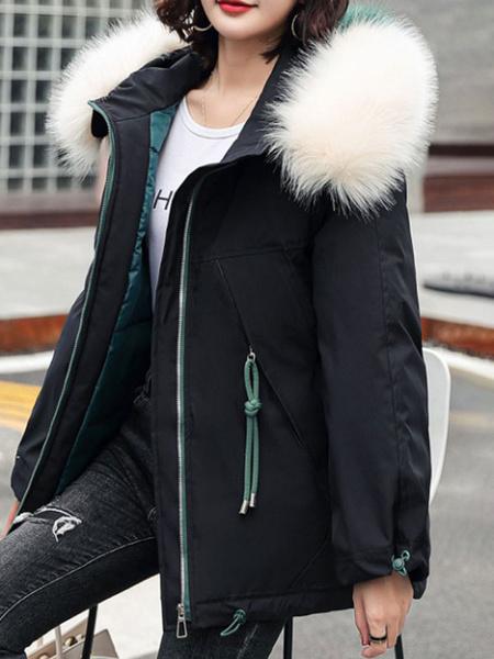 Milanoo Abrigos acolchados para mujer Crudo Blanco Cremallera con capucha media Mangas largas Ropa de abrigo de invierno gruesa informal