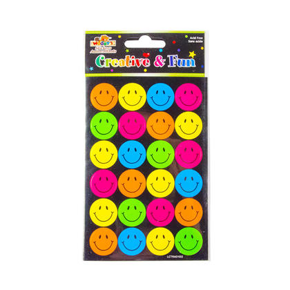 Smiley Face Reward Teacher Self-Adhesive Stickers, 4 x 6, 4 Pack - Woodys