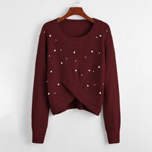 Plus Pearls Detail Twist Front Sweater