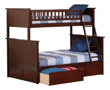 Nantucket Collection AB59244 Twin Over Full Size Bunk Bed with 2 Urban Bed Drawers  Lead Free  Ladder Included  Casters and Solid Post Construction