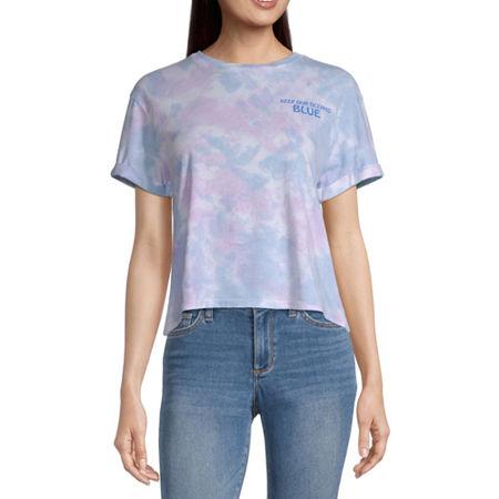 Mighty Fine-Juniors Womens Crew Neck Short Sleeve Tie-dye Graphic T-Shirt, Xx-large , Blue