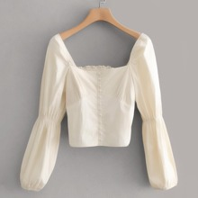 Covered Button Shirred Crop Top