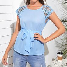 Guipure Lace Raglan Sleeve Self Belted Top