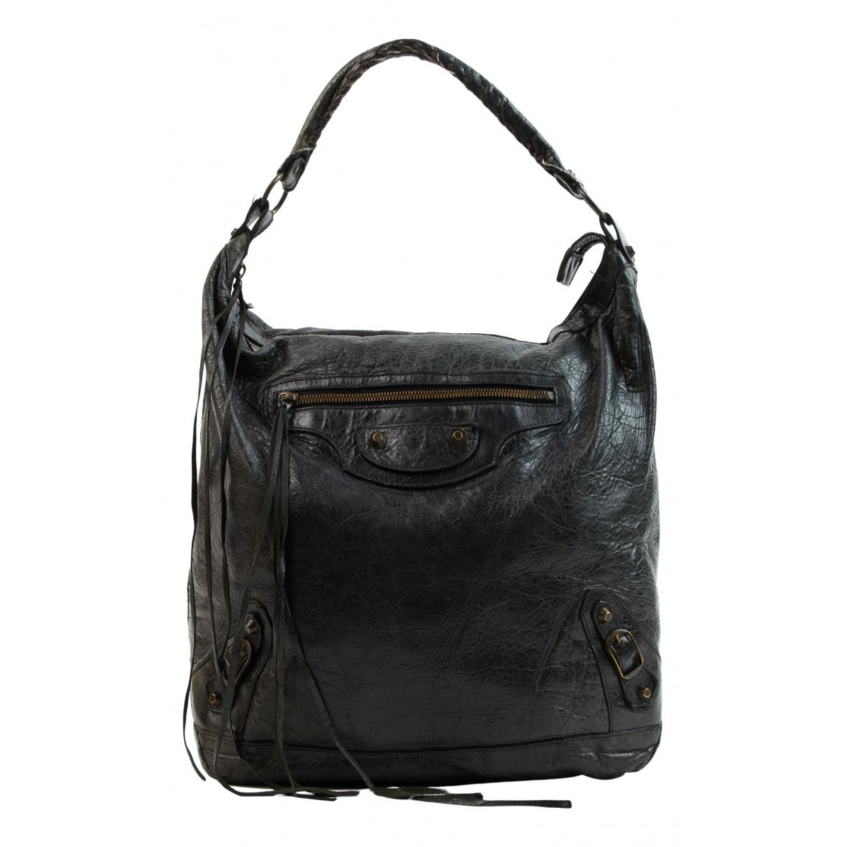 Balenciaga Day  Anthracite Leather handbag for Women N