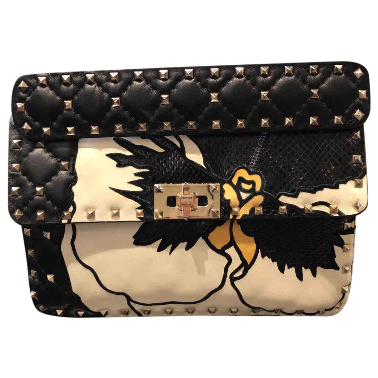 Valentino Garavani Rockstud spike Black Leather handbag for Women N