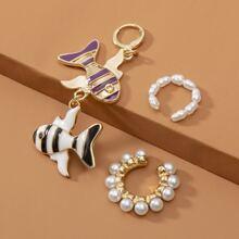 3pcs Faux Pearl Earrings