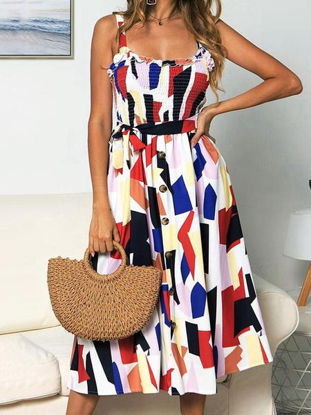 Milanoo Mezcla del girasol del verano Vestido estampado de algodon vestido de la playa