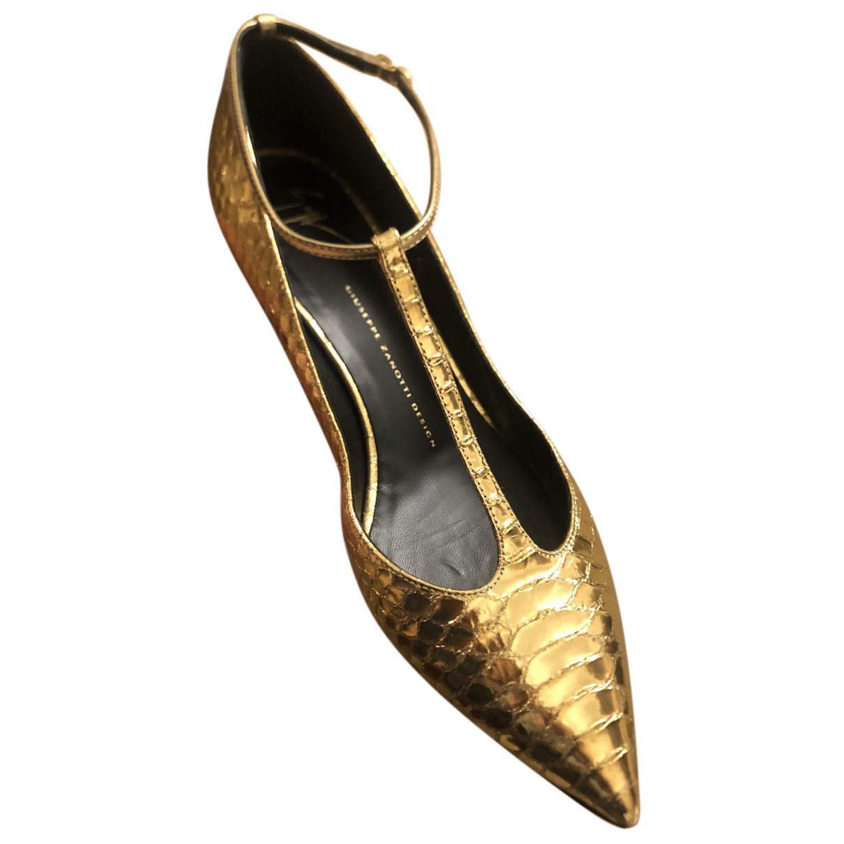 Giuseppe Zanotti N Gold Leather Heels for Women 41 EU