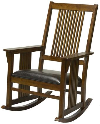 Corkwood Collection 825904-R-TB 42 Rocker with Track Arms  Sled Legs  Rustic Style  Faux Leather Seat Upholstery  Wood Base in Tobacco