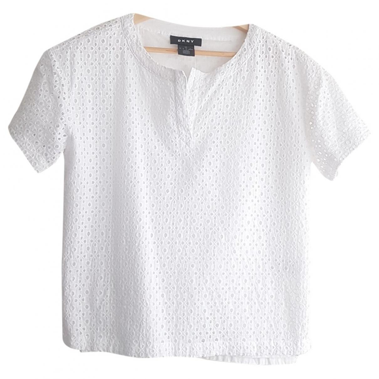 Dkny - Top   pour femme en coton - blanc