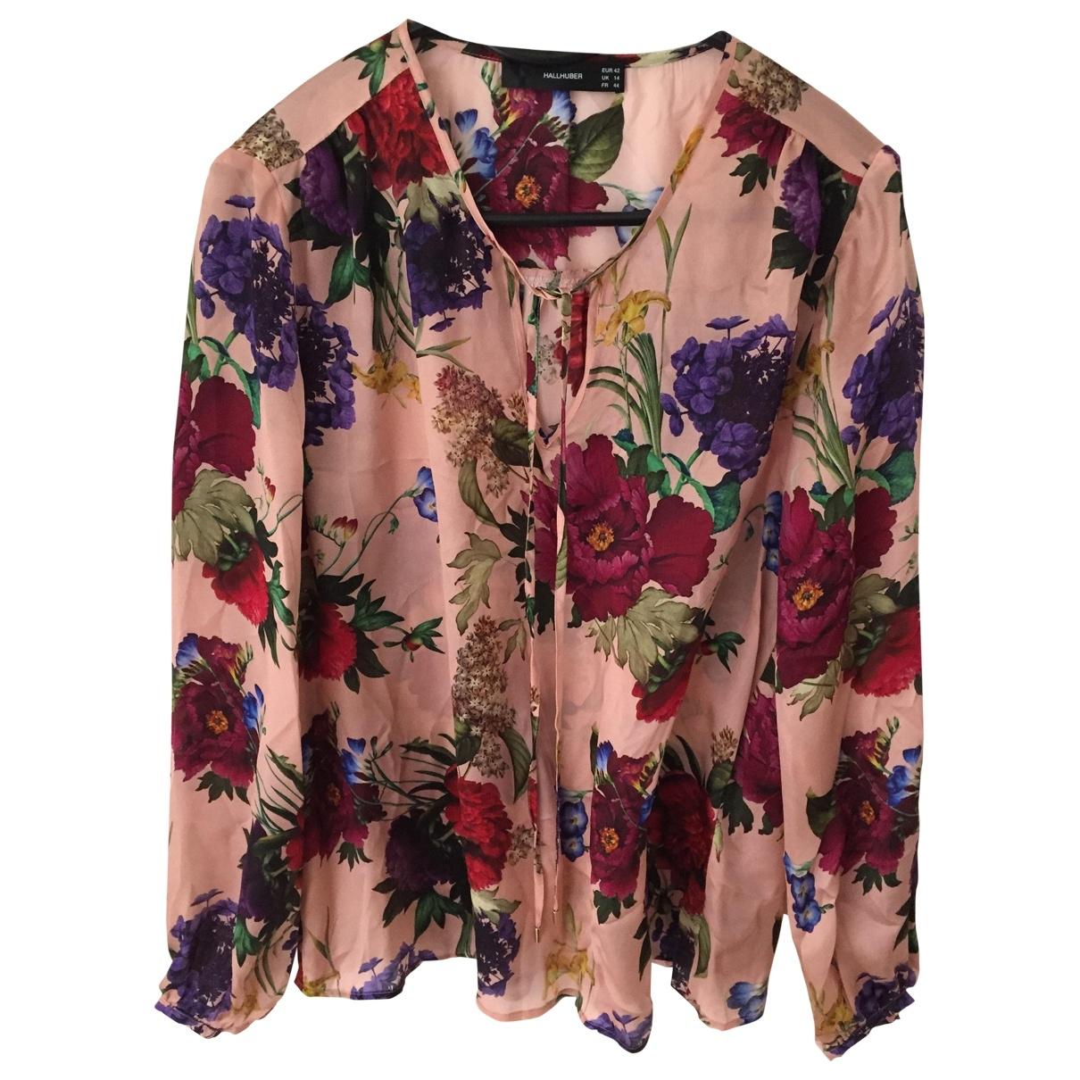 Hallhuber - Top   pour femme en soie - multicolore
