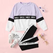 Girls Letter Graphic Colorblock Pullover & Slogan Side Seam Leggings Set