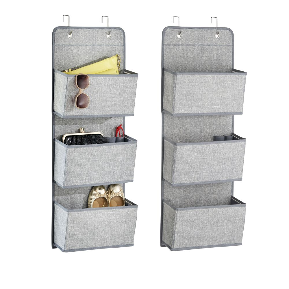 3 Pocket Over Door Fabric Hanging Closet Organizer in Gray, 4.5 x 13 x 36, by mDesign