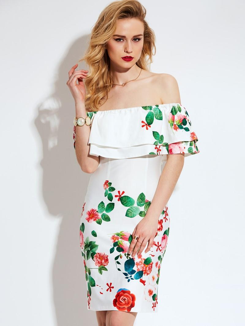 Ericdress Fresh Feeling Printing Off-The-Shoulder Bodycon Dress