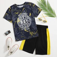 Boys Letter Graphic Top & Contrast Side Shorts Set