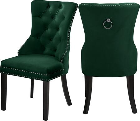 740GREEN-C Nikki Green Velvet Dining Chair (Set of