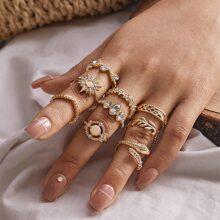 Set de anillo con diseño de hoja de serpiente 9 piezas