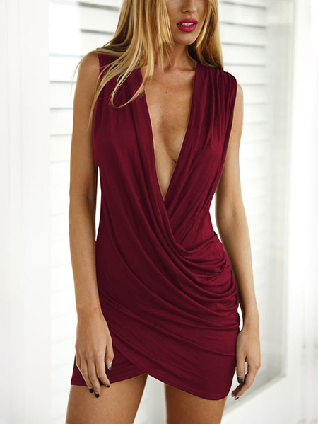 Yoins Burgundy Crossed Front Design Pleated V-neck Sleeveless Sexy Dress