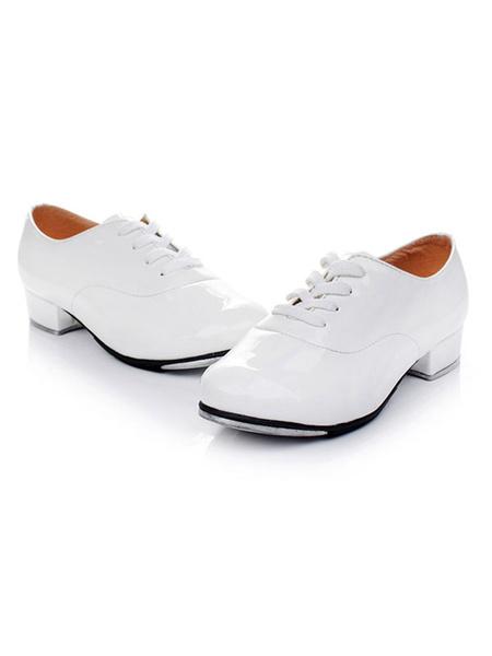 Milanoo Zapatos de PU de baile de puntera redonda para claque comodos con cordones de tacon gordo