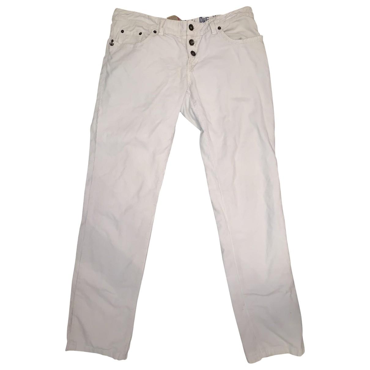 D&g \N Ecru Velvet Trousers for Men 48 FR