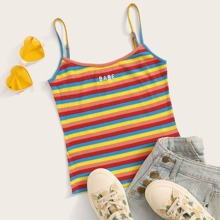 Rainbow Stripe Embroidery Letter Cami Top
