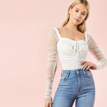 Mesh Sleeve Knot Front Ruched Top