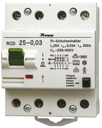 Kopp 3 + N 25 A Instantaneous RCD Switch, Trip Sensitivity 500mA