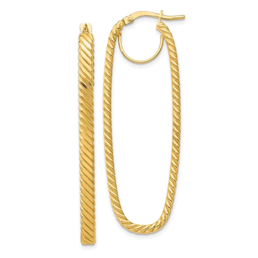 14K Yellow Gold 4x17mm Cascade Polished Oval Hoop Earrings by Versil (Yellow)