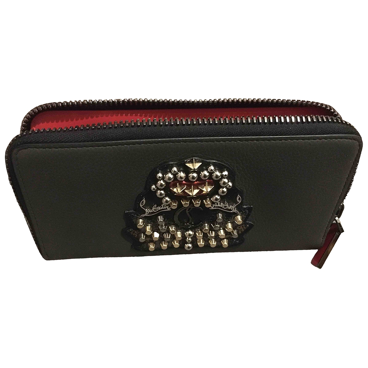 Christian Louboutin \N Grey Leather Small bag, wallet & cases for Men \N