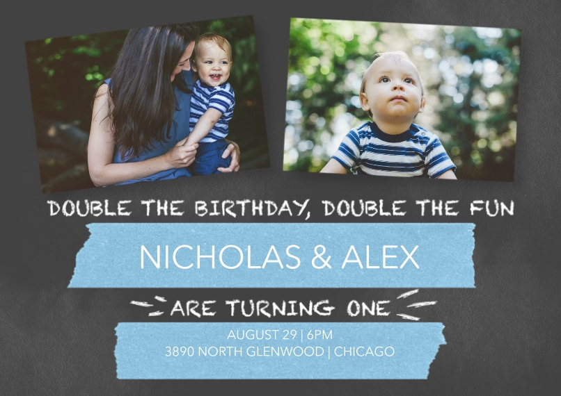 1st Birthday Invitations Flat Matte Photo Paper Cards with Envelopes, 5x7, Card & Stationery -Chalkboard Twins Boy