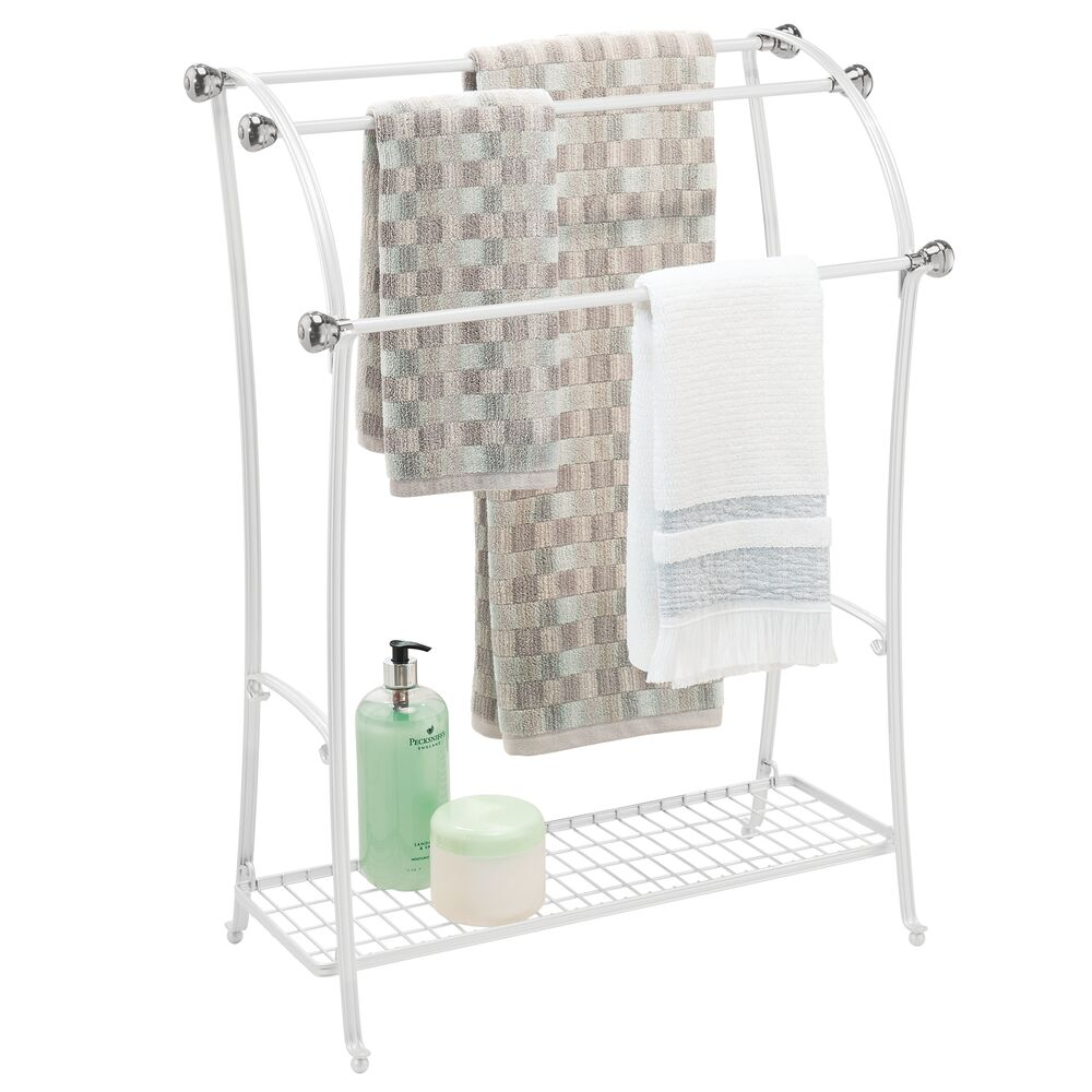 Free Standing Towel Rack Stand Bathroom Storage in White/Brushed, 12