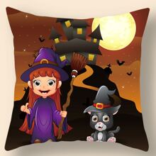 Halloween Cartoon Graphic Cushion Cover Without Filler