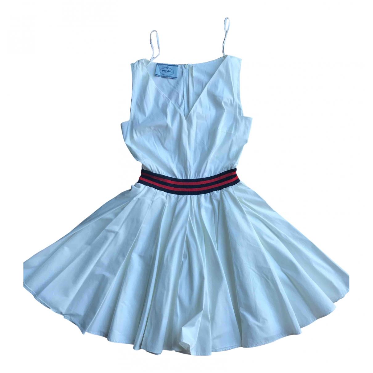 Prada \N Kleid in  Weiss Baumwolle