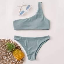 Gerippter Bikini Badeanzug mit einer Schulter frei