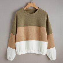 Drop Shoulder Colorblock Pullover