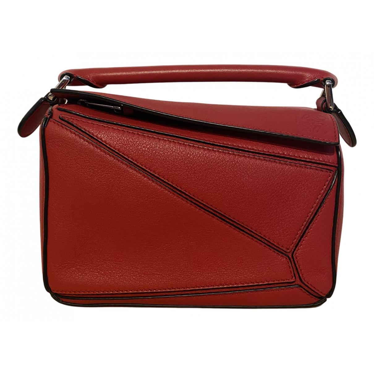 Loewe - Sac a main Puzzle  pour femme en cuir - rouge