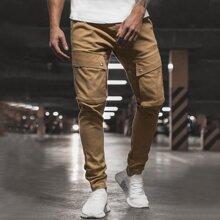 Pantalones con cordon con bolsillo con solapa