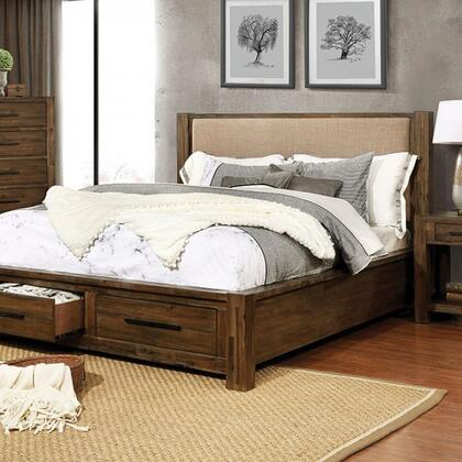 Coney Collection FOA7881CK-BED California King Size Bed with Tan Padded Fabric Headboard  Footboard Drawers  Constructed of Acacia Wood and Veneer in
