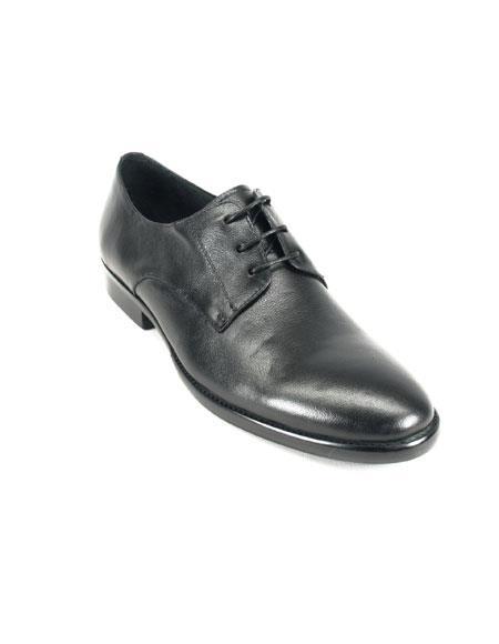 Men's Carrucci Soft Leather Black Lace-up Oxford Leather Shoes