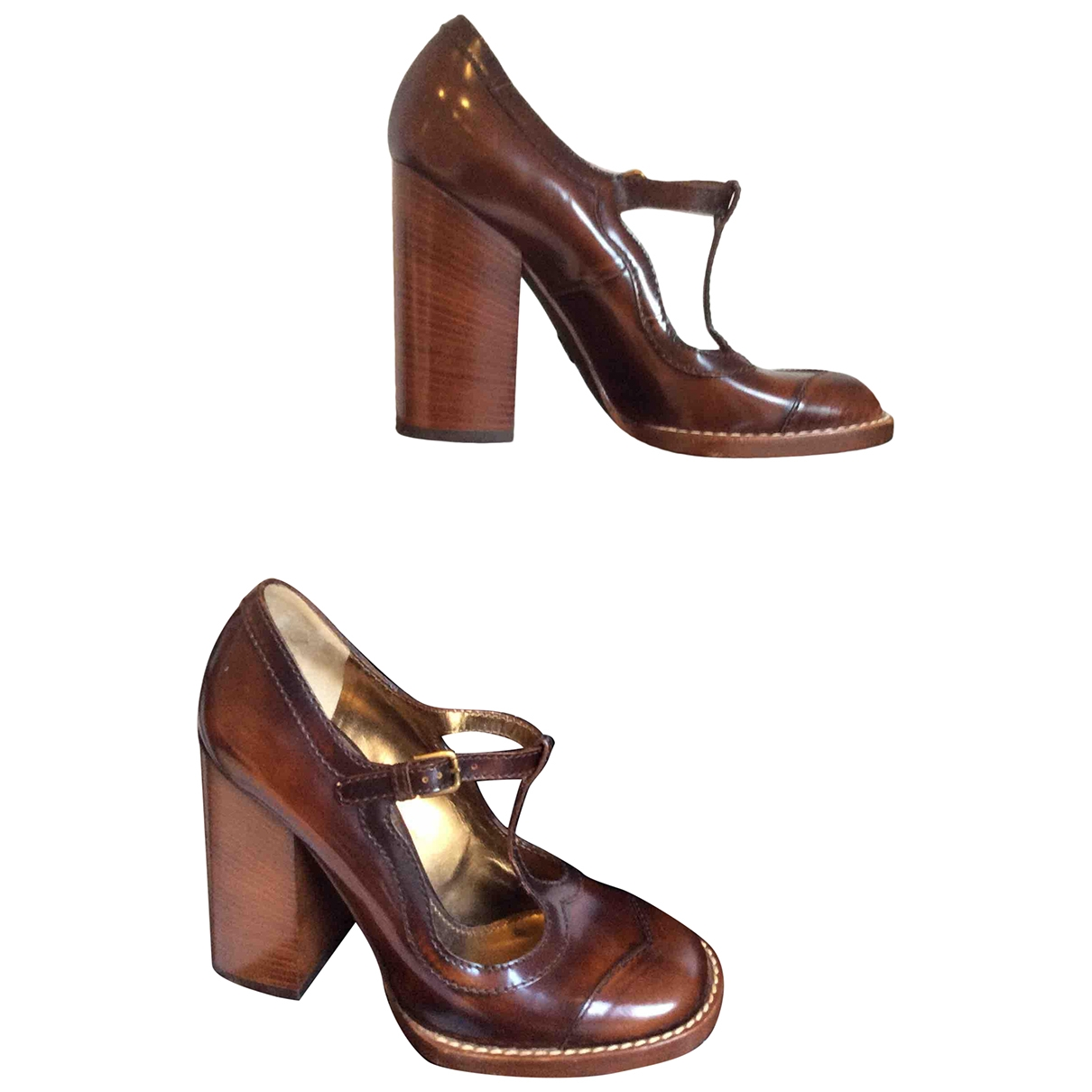 D&g \N Brown Leather Heels for Women 38 EU