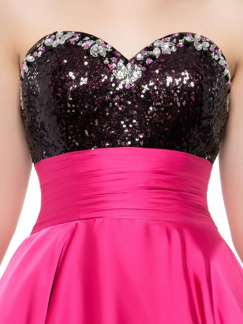 Sweetheart High-Low Length Sequins Prom Dress