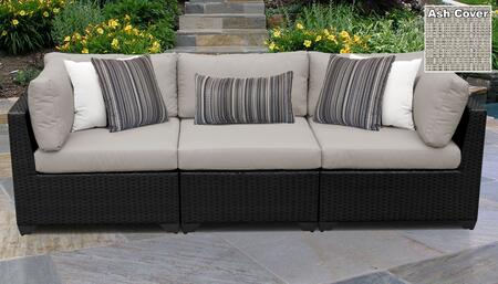 Belle BELLE-03b-ASH 3-PC Patio Sofa with 2 Corner Chairs and 1 Armless Chair - Wheat and Ash